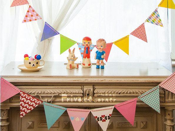 ◎私房角落【EFC0014】可愛點點愛心派對旗/2款/生日party聖誕掛飾派對三角旗佈置彩旗寶寶周歲嬰兒床露營野餐慶生