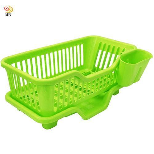 全新特價大容量三件排水式碗盤收納瀝水架餐具架筷籠(442317)