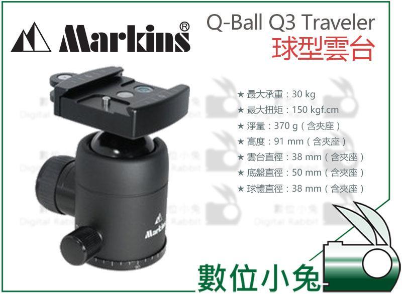 免睡攝影【Markins Q-Ball Q3 Traveler 球型雲台】GITZO Manfrotto Sirui