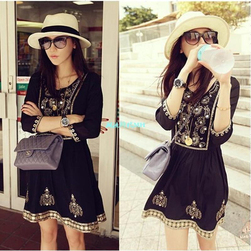 日本黑色民族風波西米亞手工刺繡亮片連身裙七分袖 洋裝