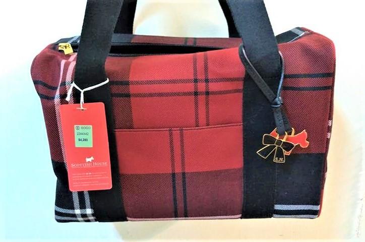 SCOTTISH HOUSE 紅黑格 方形包 波士頓包 手提包 wool材質