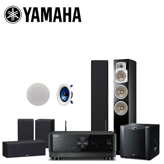 YAMAHA 山葉 RX-V6A+NS-F350+NS-P350+黑木紋NS-SW300+IC800 布拉姆斯家庭劇院組