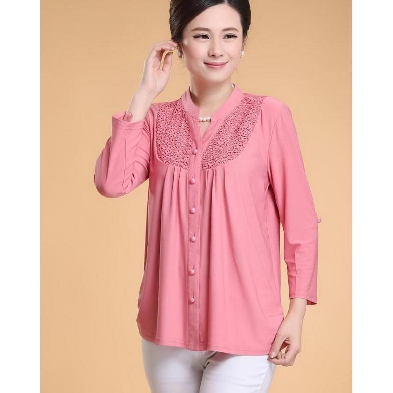 中老年女裝春裝長袖上衣婦女中年女襯衣大碼40-50歲媽媽裝襯衫