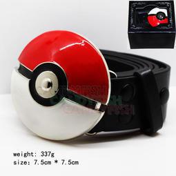 寵物小精靈 神奇寶貝 寶可夢POKEMON GO  紅白精靈球標誌 黑色皮帶 配件 褲腰帶 禮物