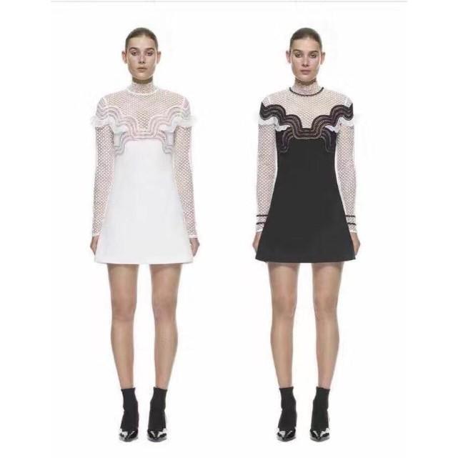 2785#復古荷葉邊度假蕾絲裙長袖連衣裙小禮服
