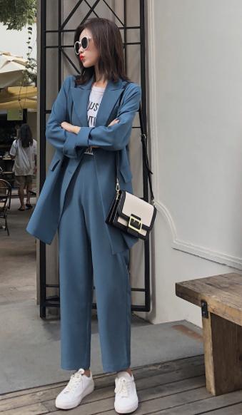 <kiki>西裝外套女韓版秋季2018新款中長款休閒港味九分褲套裝小西服