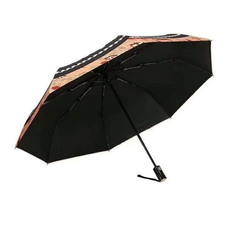 香 櫃檯會員禮品 希臘女神維納斯的貓頭鷹-全黑鋼全自動折疊防曬晴雨傘兩用雨傘_代購