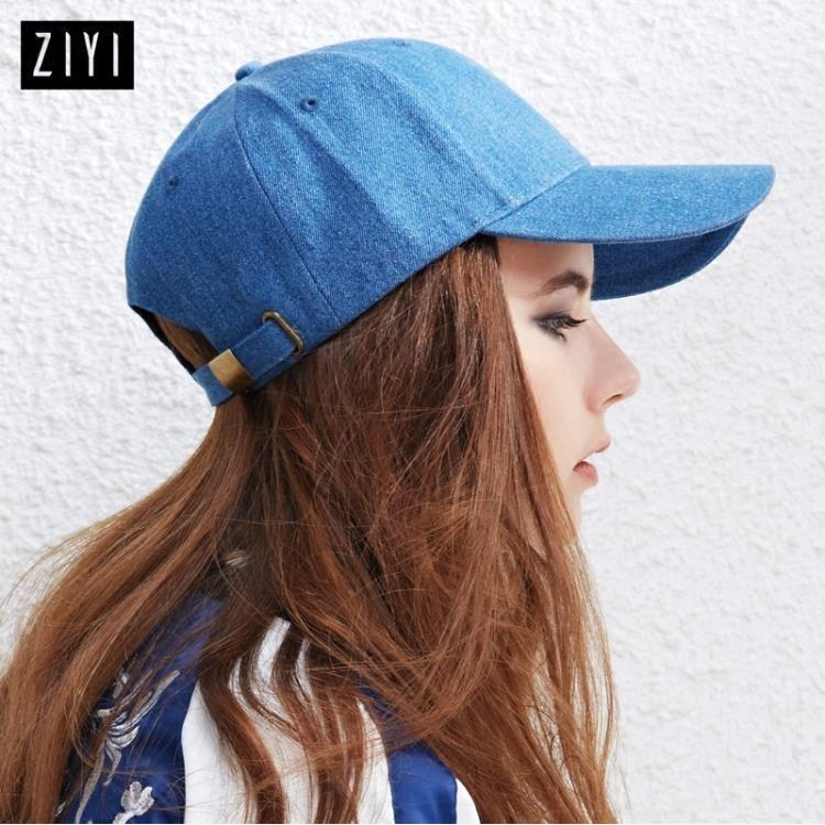 鴨舌帽子女牛仔藍色情侶棒球帽 時尚彎沿簡約款/小紅家居館