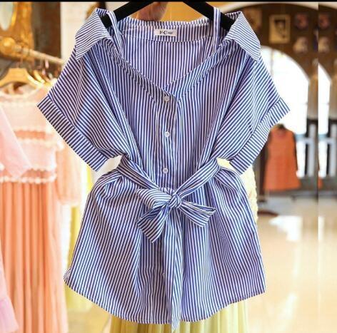 襯衫 韓版 露肩吊帶短袖條紋襯衫裙  W350 一級棒Al新品 全館免運