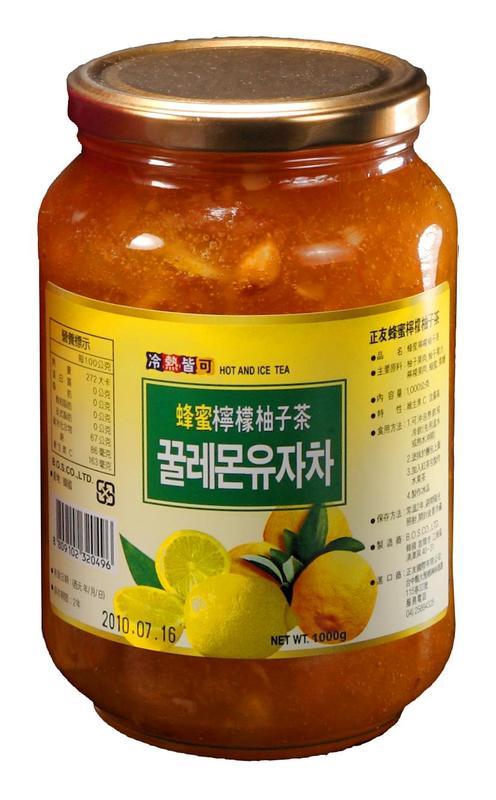 高麗購◎正友韓國蜂蜜檸檬柚子茶1公斤1瓶