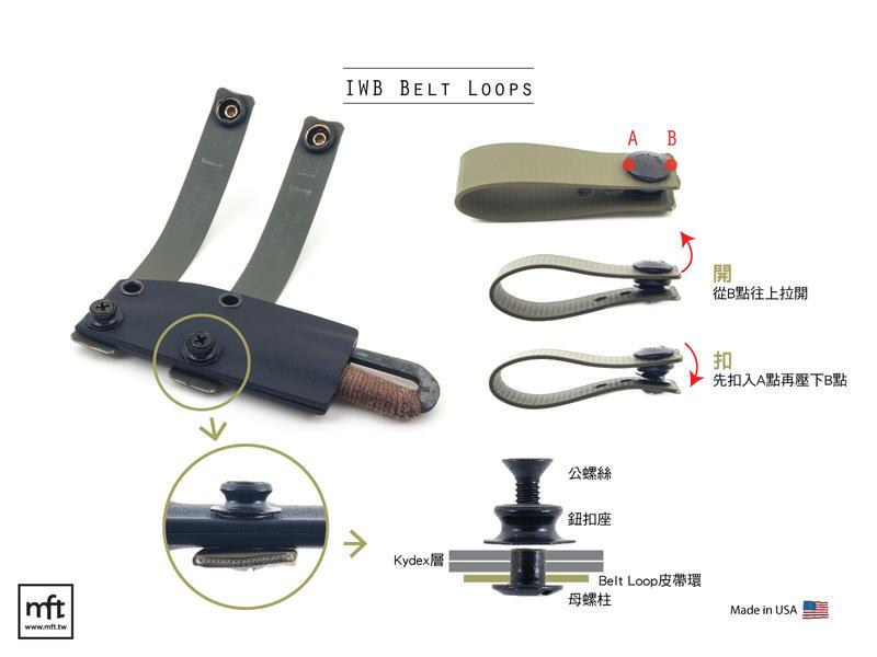 MFT 美國 IWB Belt Loops 橫向繫掛 皮帶環扣組件 Kydex刀鞘適用