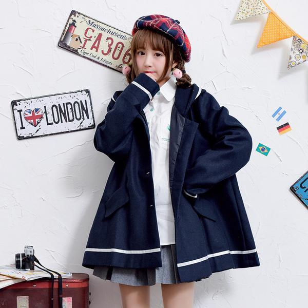 【晨曦·貓】日系森林系 純色連帽海軍風可愛百搭毛呢外套中長款外套 (5色)