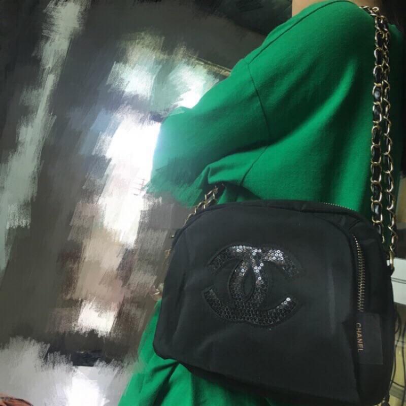 香 櫃檯會員禮品 亮片LOGO金鍊穿皮繩雙層貝殼包/兩用包/單肩包/外出包,/購物包/手提包_代購