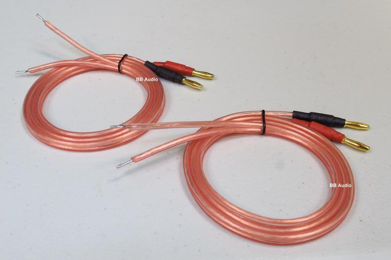 全新 4N無氧銅OCF發燒喇叭線(香蕉頭+裸線/200*2芯)2.5米一對/2顆喇叭用