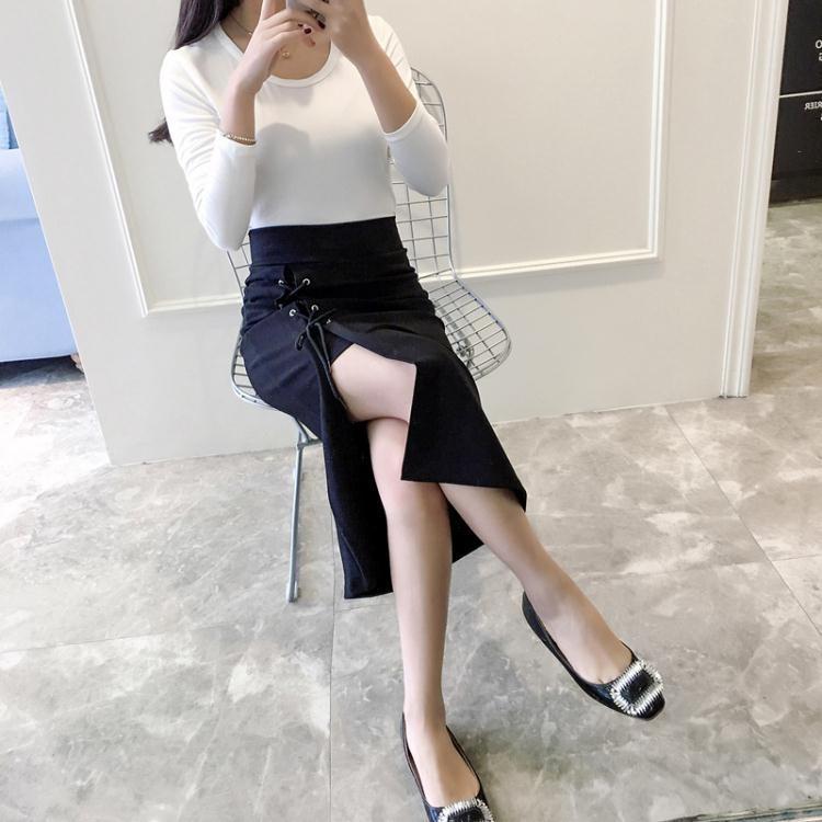 【可開發票】修身高腰半身裙女包臀裙前開叉中長裙緊身黑色一步裙顯瘦—聚優購物網