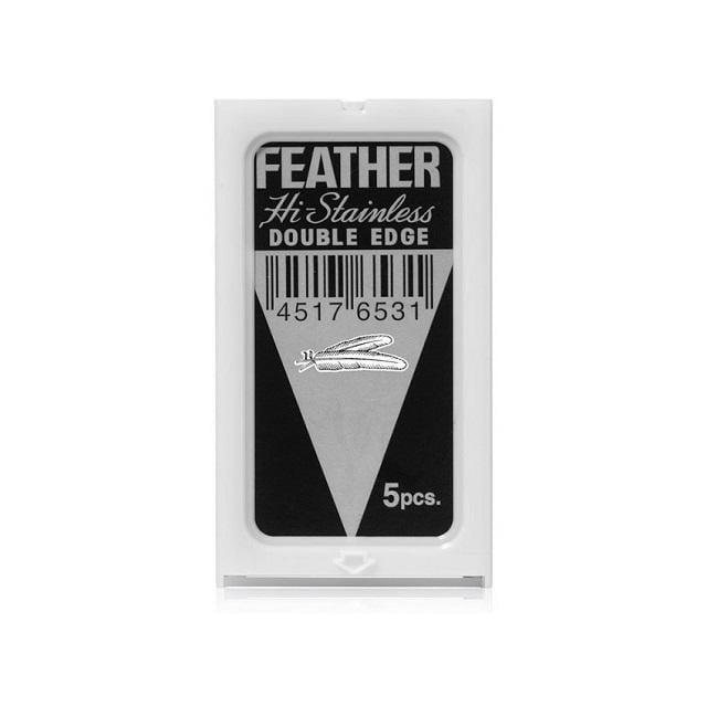 日本 FEATHER  刮鬍刀片 羽毛 高級不銹鋼 鉑金包 雙面安全刀片 一盒5片