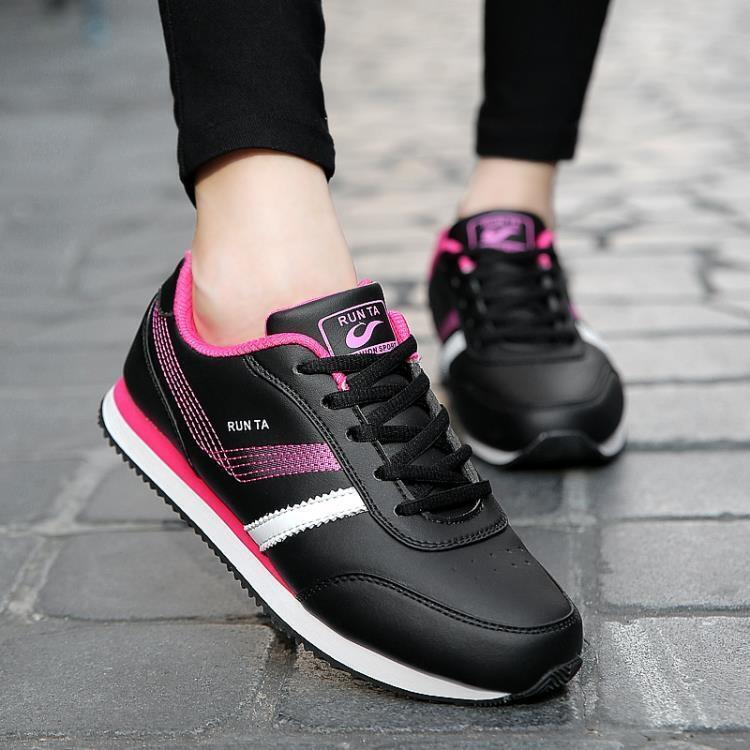 運動鞋女鞋輕便跑步鞋女皮面旅游鞋女休閒鞋板鞋 熱銷