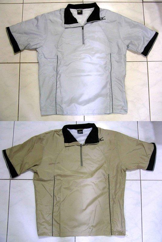MIZUNO PLUS 短袖有領防波水防風衣特價1150元~銀灰色,金褐色可選