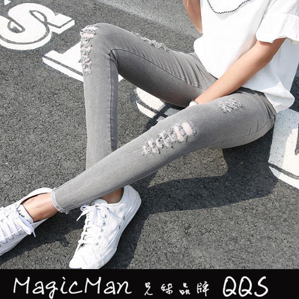 打底褲 破洞外穿小腳薄款緊身九分百搭長褲(QHJ0351)兄妹品牌QQS 一級棒Al新品 全館免運