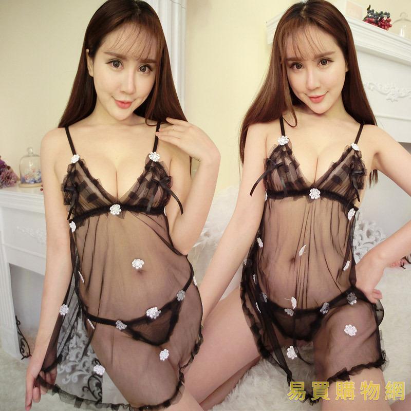 易買購物網-情趣三點式情趣內衣 多色性感蕾絲露乳大碼透明吊帶裙三點睡衣誘惑套裝透視