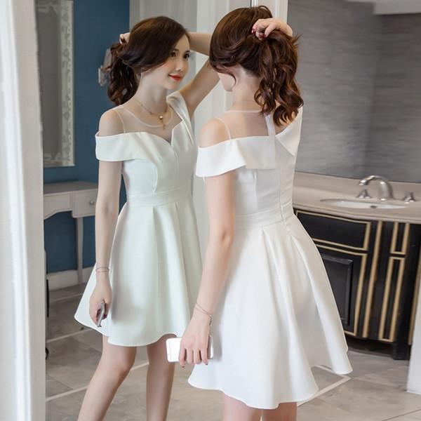 洋裝 韓版 聚會小禮服 網紗拼接a字高腰連身裙 W320 一級棒Al新品 全館免運
