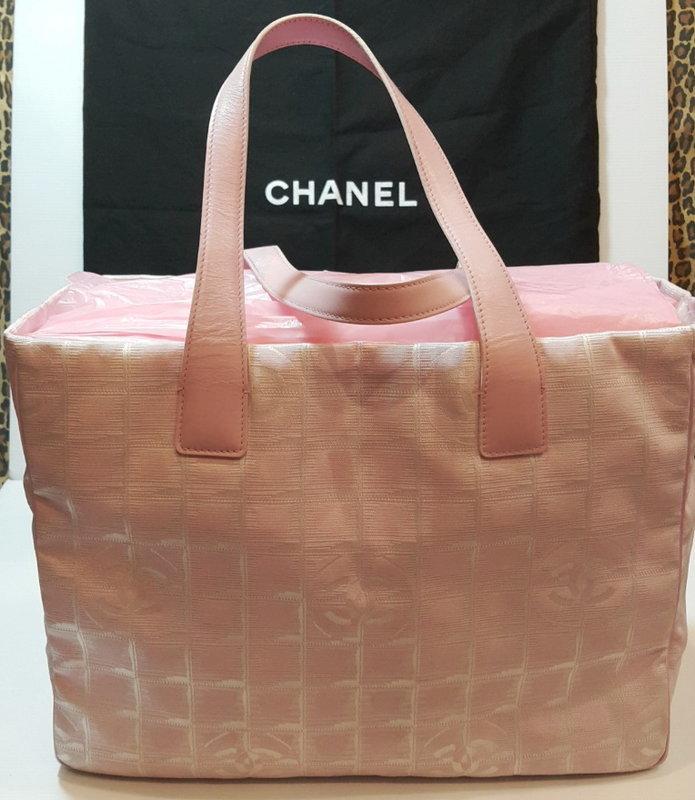 Chanel香奈兒 雙C 緹花布肩背包/托特包/大方包/帆布手提袋 粉色 大CoCo Logo(A4可)賣場有LV
