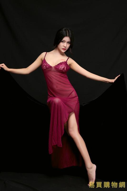 易買購物網-情趣三點式午夜情趣內衣 性感長裙情趣內衣絲滑睡裙  歐美女士睡裙