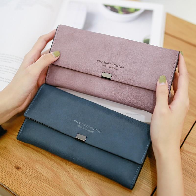 女士錢包女長款 日韓版學生翻蓋簡約多功能女式皮夾~小紅家居館