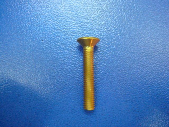 喬捷單車精品─平頭內六角7075鋁合金螺絲(金色)〈豎管上蓋螺絲〉(1入)