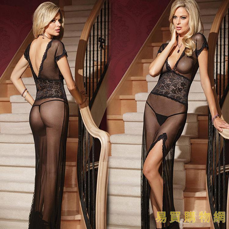 易買購物網-情趣三點式歐美情趣內衣性感長裙 午夜魅力 開叉蕾絲長裙分碼數4254