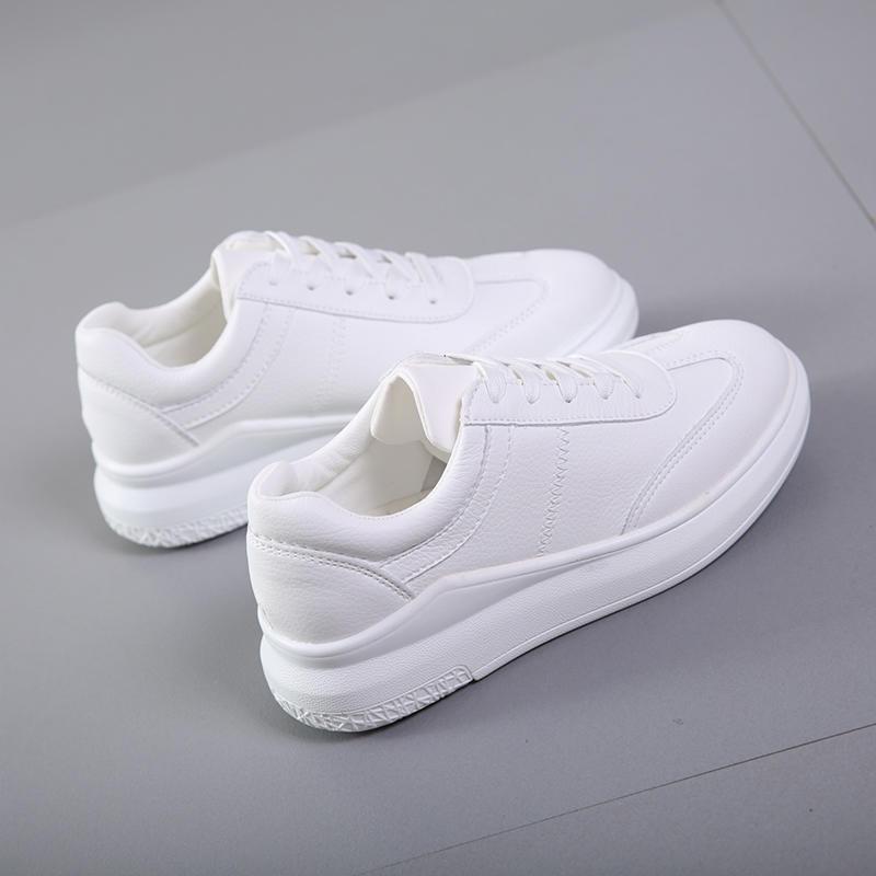 休閒鞋 綁帶氣孔好走休閒小白鞋黑/白百搭正韓小白鞋女--脆殼蟹
