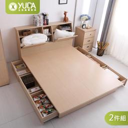 床組【YUDA】限時特賣 北歐都市風【6抽屜床底+加高床頭】3.5尺/5尺/6尺  6抽屜型床組 (床頭箱+床底)2件組