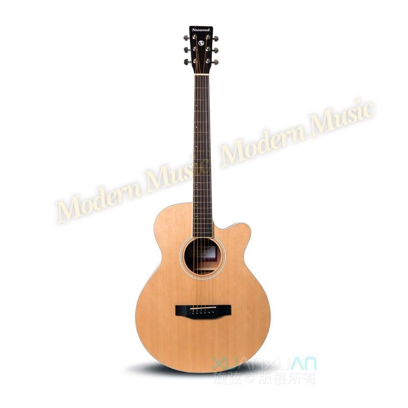 【現代樂器】Neowood 民謠吉他 SF-1C 39吋 SF薄桶缺角型木吉他 較小巧輕量 附琴袋+送多項配件 SF1C