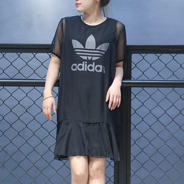 9527 adidas 愛迪達 三葉草 黑色 雪紡 背心裙 DP8591 短袖 連身裙 洋裝 紗裙