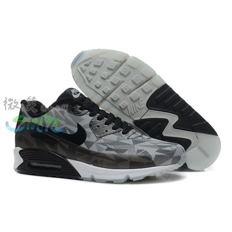 NIKE AIR MAX 90 ICE 25周年 氣墊 鑽石 透明底 慢跑鞋 男女鞋 黑灰
