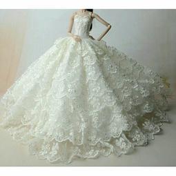 芭比娃娃高檔禮服 大婚紗 芭比娃娃多層婚紗禮服