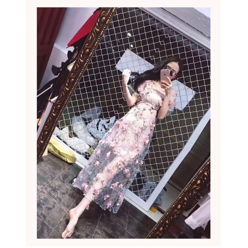 2563#夏季新款重工刺繡花朵透視3D手工花少女粉長裙連衣裙女