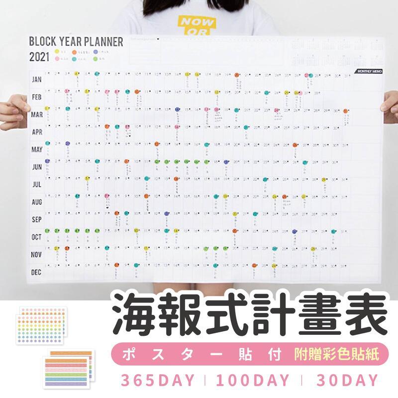 【現貨-免運費!台灣寄出】年度計畫表 全年計畫表 海報式超大年曆 月曆 日程表 掛曆【BE563】