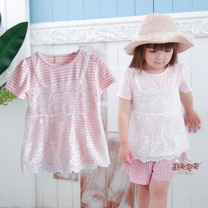 ○。° 彩色泡泡 °。○ 童裝【貨號F31024】夏。粉條紋美美蕾絲造型棉T