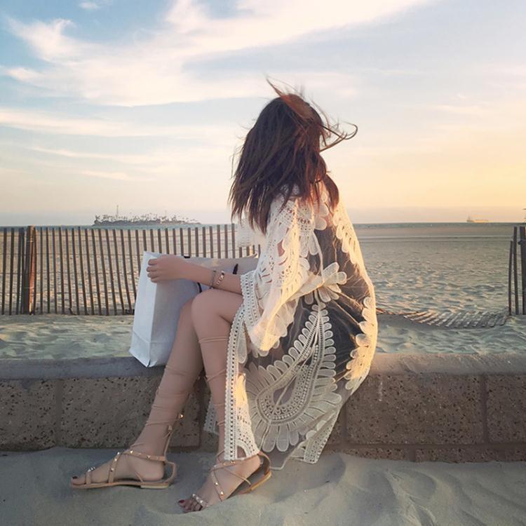 比基尼罩衫沙灘外套開衫海邊度假寬鬆防曬披肩長款泳衣外搭可下水【潮咖地帶】