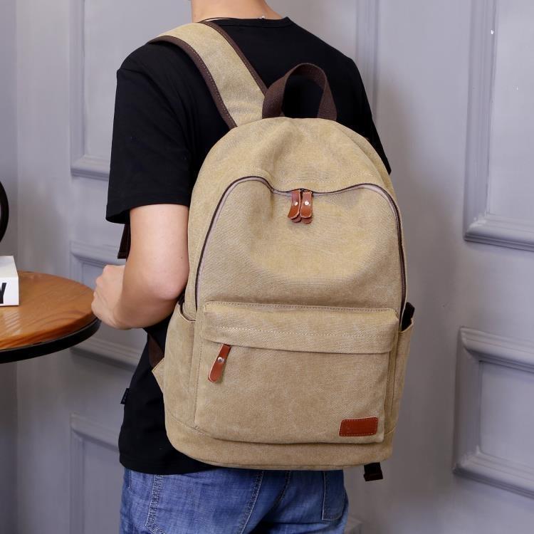 時尚潮流後背包男士休閒帆布背包旅行包電腦包大學生書包男