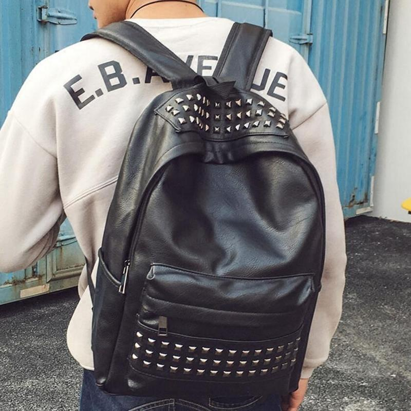 2018新款歐美時尚潮流鉚釘PU皮朋克風雙肩包男女運動書包休閑個性男士背包