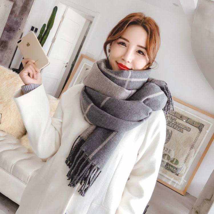 圍巾女冬季長款加厚保暖韓版百搭雙面雙色格子披肩兩用學生圍脖秋