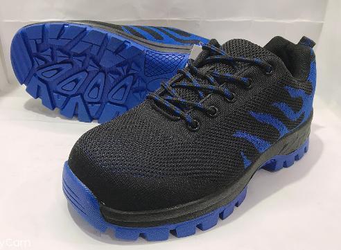 特賣會 男款飛織網布鋼頭+防穿刺防護運動鞋 19003-黑藍 超低直購價690元 限量特賣