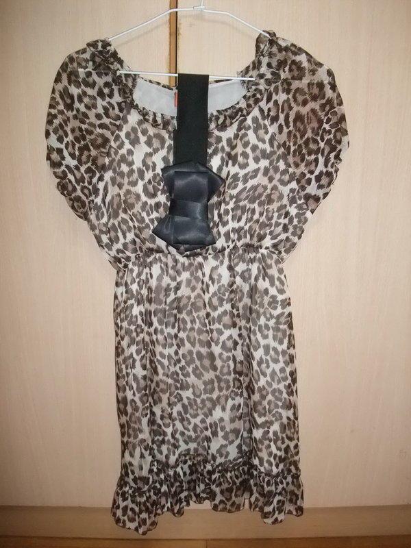 豹紋洋裝(附造型腰帶)~全新品