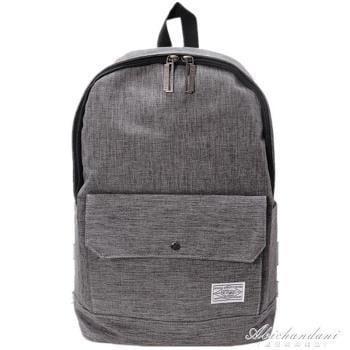 純色帆布後背包男學院風書包潮流簡約休閒時尚學生旅行背包