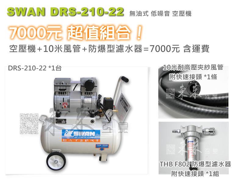 ㊣東來工具㊣7000超值組!天鵝牌 SWAN DRS-210 無油式空壓機 22公升 低噪音 免運費
