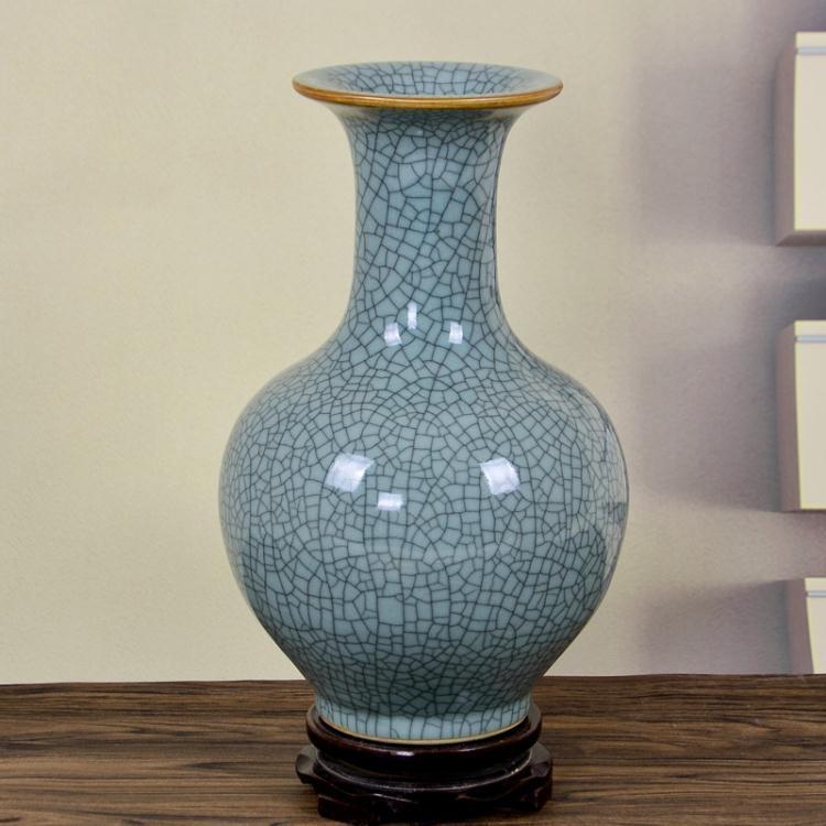 陶瓷器仿古官窯開片裂紋青釉花瓶插花中式家居客廳裝飾擺件【潮咖地帶】