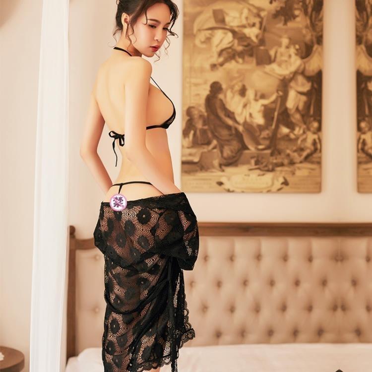 情趣內衣性感三點透視睡衣激情套裝胸罩內褲蕾絲小胸四件套睡裙式【潮咖地帶】