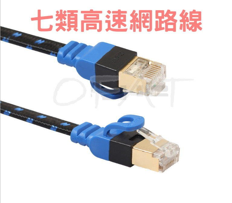 CAT7 雙屏蔽七類萬兆 5米 10米 15米 20米  纖維網路線 扁平網路線 RJ45 高速網路線【HY59】